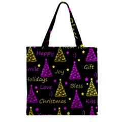 New Year Pattern   Yellow And Purple Zipper Grocery Tote Bag by Valentinaart