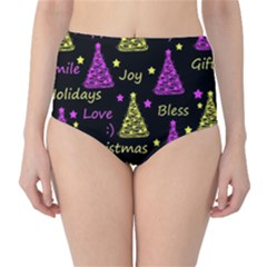 New Year Pattern - Yellow And Purple High-waist Bikini Bottoms