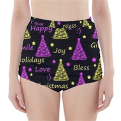 New Year Pattern - Yellow And Purple High-waisted Bikini Bottoms by Valentinaart