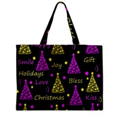 New Year Pattern   Yellow And Purple Medium Tote Bag by Valentinaart