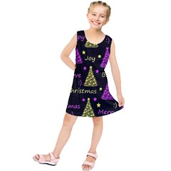 New Year Pattern - Yellow And Purple Kids  Tunic Dress by Valentinaart