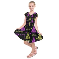 New Year Pattern - Yellow And Purple Kids  Short Sleeve Dress by Valentinaart