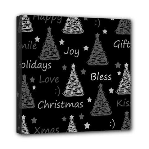 New Year Pattern   Gray Mini Canvas 8  X 8  by Valentinaart