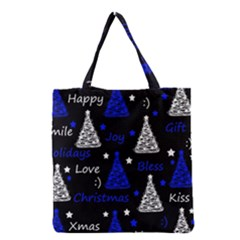New Year Pattern   Blue Grocery Tote Bag by Valentinaart
