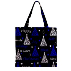 New Year Pattern   Blue Zipper Grocery Tote Bag by Valentinaart