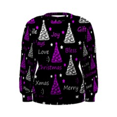 New Year Pattern   Purple Women s Sweatshirt by Valentinaart