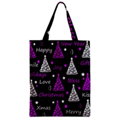 New Year Pattern   Purple Zipper Classic Tote Bag by Valentinaart