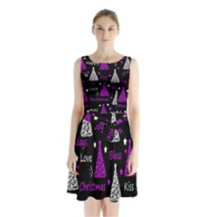 New Year Pattern   Purple Sleeveless Chiffon Waist Tie Dress by Valentinaart