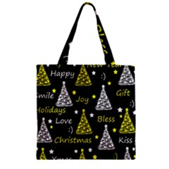 New Year Pattern   Yellow Zipper Grocery Tote Bag by Valentinaart
