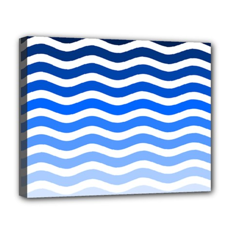 Water White Blue Line Deluxe Canvas 20  X 16   by AnjaniArt