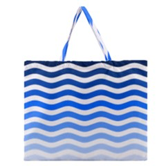 Water White Blue Line Zipper Large Tote Bag