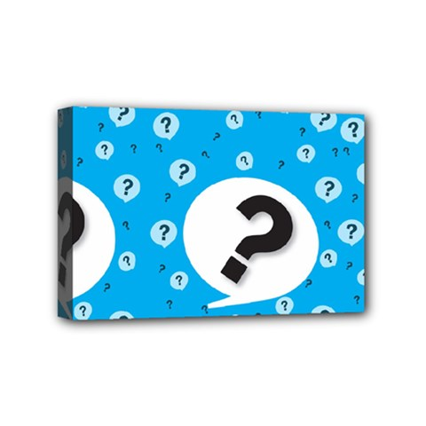 Blue Question Mark Mini Canvas 6  X 4  by AnjaniArt