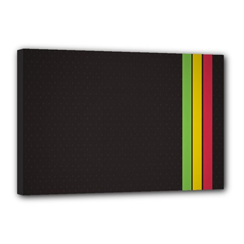 Brown White Stripes Green Yellow Pink Canvas 18  X 12
