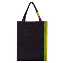 Brown White Stripes Green Yellow Pink Classic Tote Bag