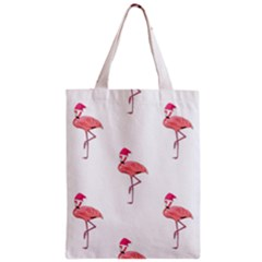 Flamingos Pink Santa Claus Tropical Coastal Christmas Zipper Classic Tote Bag by CrypticFragmentsColors