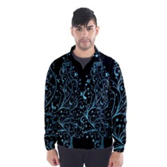 Elegant Blue Christmas Tree Black Background Wind Breaker (men)
