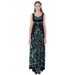 Elegant Blue Christmas Tree Black Background Empire Waist Maxi Dress