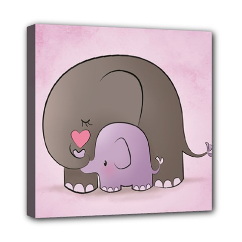 Cute Elephant Mini Canvas 8  X 8  by AnjaniArt