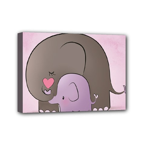 Cute Elephant Mini Canvas 7  X 5  by AnjaniArt