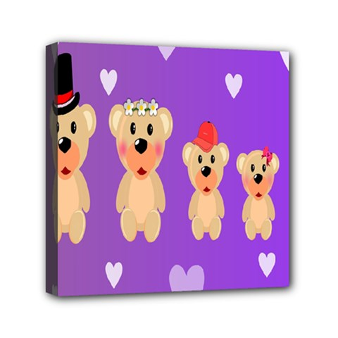 Happy Bears Cute Mini Canvas 6  X 6  by AnjaniArt