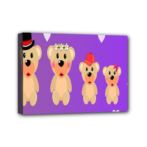 Happy Bears Cute Mini Canvas 7  X 5  by AnjaniArt