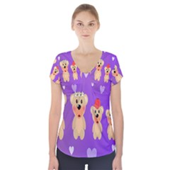 Happy Bears Cute Short Sleeve Front Detail Top