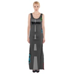 Highway Maxi Thigh Split Dress by AnjaniArt