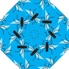 Mosquito Blue Black Golf Umbrellas by AnjaniArt