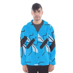 Mosquito Blue Black Hooded Wind Breaker (men) by AnjaniArt