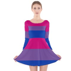 Pink Purple Blue Flag Long Sleeve Velvet Skater Dress