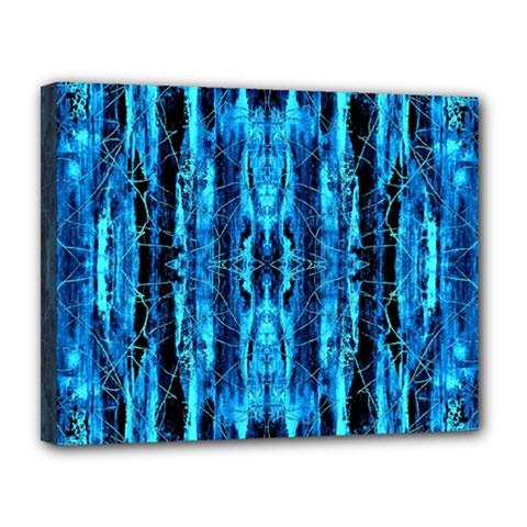 Bright Blue Turquoise  Black Pattern Canvas 14  X 11  by Costasonlineshop