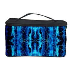 Bright Blue Turquoise  Black Pattern Cosmetic Storage Case by Costasonlineshop