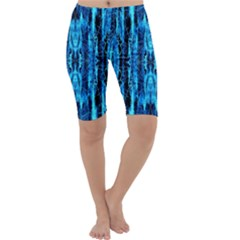 Bright Blue Turquoise  Black Pattern Cropped Leggings  by Costasonlineshop