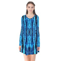 Bright Blue Turquoise  Black Pattern Flare Dress