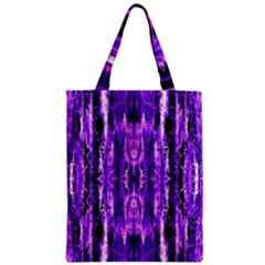 Bright Purple Rose Black Pattern Zipper Classic Tote Bag by Costasonlineshop