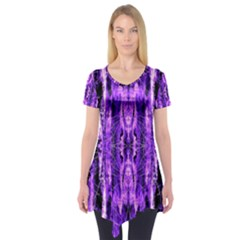 Bright Purple Rose Black Pattern Short Sleeve Tunic  by Costasonlineshop