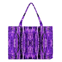 Bright Purple Rose Black Pattern Medium Tote Bag by Costasonlineshop