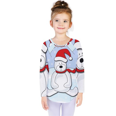Polar Bear Kids  Long Sleeve Tee by Valentinaart