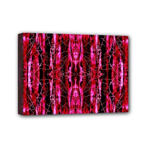 Pink Burgundy Traditional Pattern Mini Canvas 7  X 5