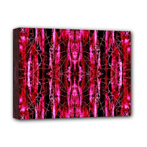 Pink Burgundy Traditional Pattern Deluxe Canvas 16  X 12   by Costasonlineshop