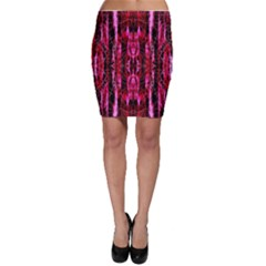 Pink Burgundy Traditional Pattern Bodycon Skirt by Costasonlineshop