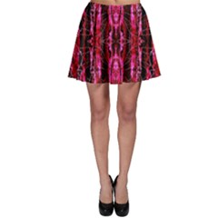 Pink Burgundy Traditional Pattern Skater Skirt