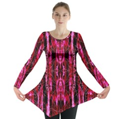Pink Burgundy Traditional Pattern Long Sleeve Tunic  by Costasonlineshop