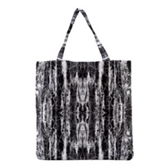 Black White Taditional Pattern  Grocery Tote Bag by Costasonlineshop