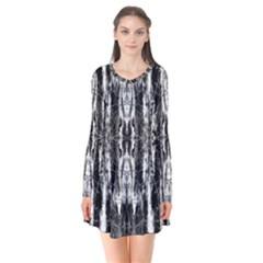 Black White Taditional Pattern  Flare Dress