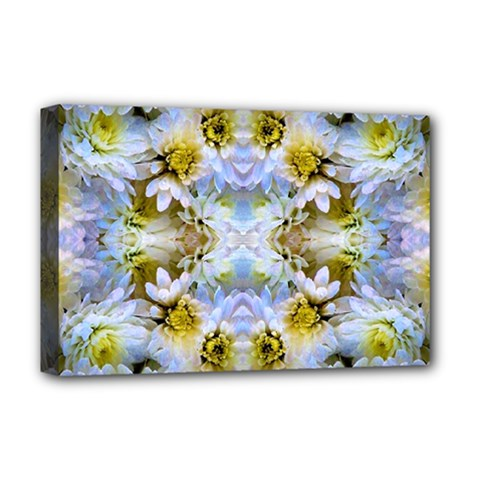 Blue Yellow Flower Girly Pattern, Deluxe Canvas 18  X 12   by Costasonlineshop