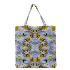 Blue Yellow Flower Girly Pattern, Grocery Tote Bag