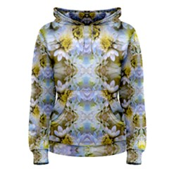 Blue Yellow Flower Girly Pattern, Women s Pullover Hoodie