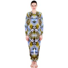 Blue Yellow Flower Girly Pattern, Onepiece Jumpsuit (ladies)  by Costasonlineshop