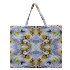 Blue Yellow Flower Girly Pattern, Zipper Large Tote Bag by Costasonlineshop